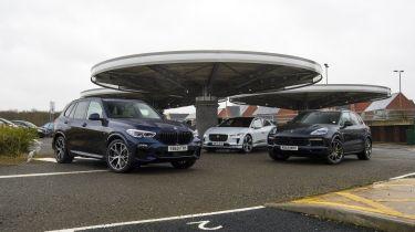 BMW X5 hybrid vs Porsche Cayenne hybrid vs Jaguar I-Pace