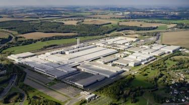 Aerial view Volkswagen plant Zwickau.