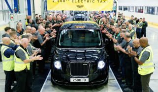 LEVC 25,000TH ELECTRIC TAXI Pictures by Adam Fradgley Pictured on the production line at the LEVC factory in Coventry is the 25,000th Electric Taxi coming off the production line.
