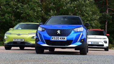Hyundai Kona Electric vs Peugeot e-2008 vs Kia Soul EV