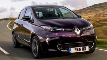 Purple Renault ZOE driving