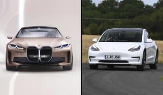 BMW Concept i4 vs Tesla Model 3