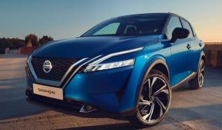 Blue Nissan Qashqai parked