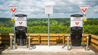 72 Point- The electric charging stations at the Route 303 Restaurant in Devon. 21/06/2019