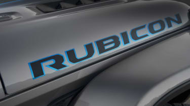 Surf Blue accents the Rubicon graphic on the hood of the 2021 Jeep® Wrangler 4xe.