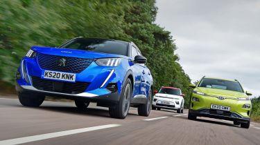 Peugeot e-2008 vs Kia Soul EV vs Hyundai Kona Electric
