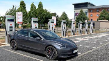 Tesla charging at Instavolt charger