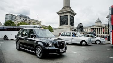 LEVC Black Cab and driver John Dowd out and about in London Uk July 2019 July 17th 2019